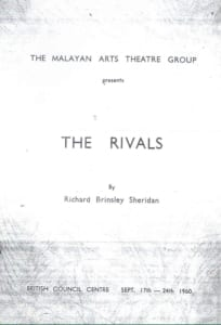 1960, The Rivals: Programme Cover