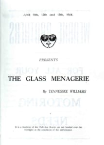 1964, The Glass Menagerie: Programme Cover