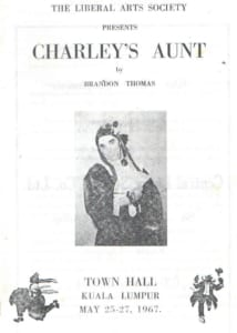 1967, Charley's Aunt: Programme Cover