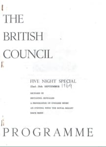 1969, British Council Five Night Special: Programme Cover