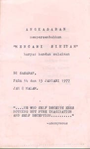 1977, Mencari Si Hitam: Programme Cover