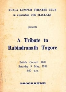 1981, A Tribute To Rabindranath Tagore: Programme Cover