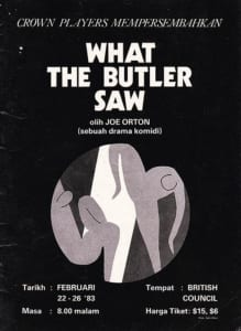 1983, What the Butler Saw: Programme cover