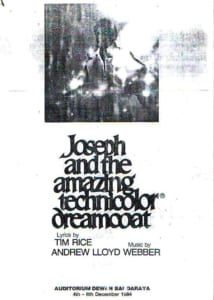 1984, Joseph And The Amazing Technicolor Dreamcoat: Programme Cover
