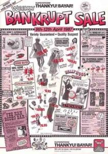 1987, Bankrupt Sale: Programme Cover