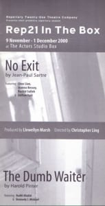 2000, No Exit & The Dumb Waiter: Programme Cover
