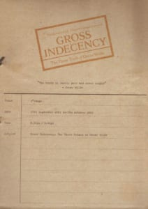 2001, Gross Indecency: the Three Trials of Oscar Wilde: Programme Cover