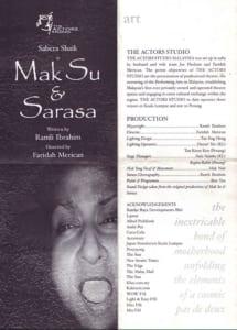 2003, Mak Su Sarasa: Programme Cover and Credits