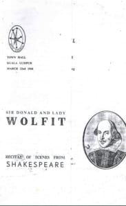 1960, Recital of Scenes from Shakespeare: Programme Cover