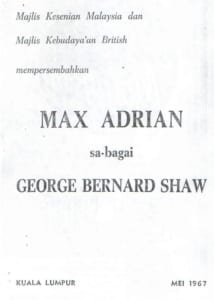 1967, Max Adrian as George Bernard Shaw: Programme Cover