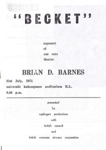"""1971, """"Becket"""": Programme Cover"""