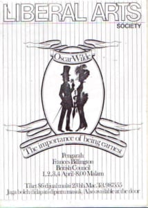 1981, The Importance Of Being Earnest: Programme Cover