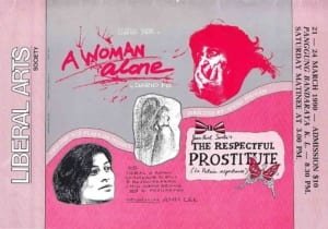 1990, A Woman Alone | The Respectful Prostitute: Programme Cover