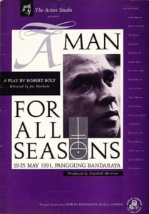 1991, A Man For All Seasons: Programme Cover