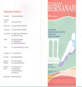 1992, Tanah Bernanah: Programme Outer Sheet