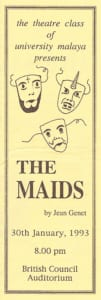 1993, the Maids: Programme Cover