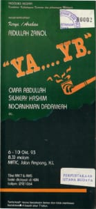 "1993, ""Ya,...YB"": Programme Cover"