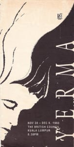 1993, Yerma: Programme Cover