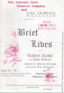 1996, Brief Lives: Programme Cover