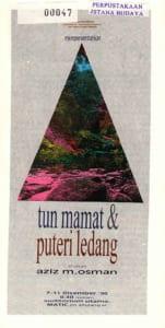 1996, Tun Mamat dan Puteri Ledang: Programme Cover