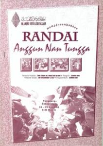 1998, Randai Anggun Nan Tungga: Programme Cover