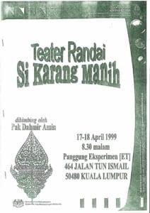 199, Randai Si Karang Manih: Programme Cover